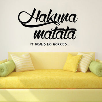 Wall Decals Quotes Vinyl Sticker Decal Art Home Decor Mural Hakuna Matata Quote Wall Decal Kids Nursery Boys Girls Gift Bedroom Dorm AN358