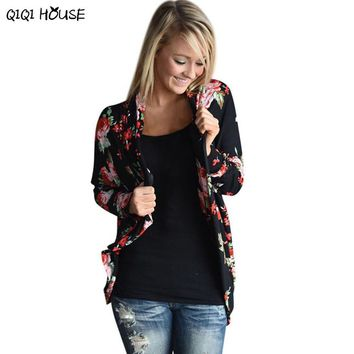 Floral Kimono Jacket Autumn Pring Flower Long Sleeve Irregular Cardigans Outwear Coats Chaqueta Mujer#C907