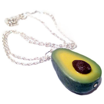 Avocado Necklace/Charm - Miniature Food Jewelry - Polymer Clay Food