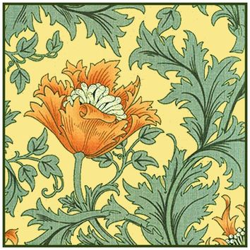 Orange Anemone Flower Acanthus Vine William Morris Design Counted Cross Stitch or Counted Needlepoint Pattern