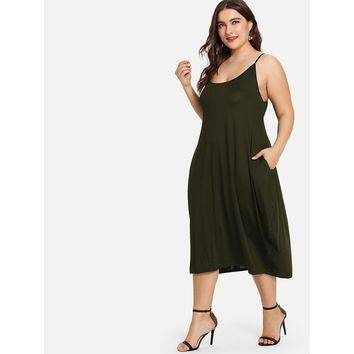 Plus Hidden Pocket Solid Cami Dress Army Green