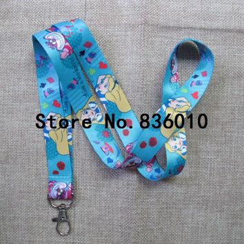 Hot Sale 10 pcs  Cartoon Alice In Wonderland Princess cat    Lanyard Key Chains Pendant  Gifts Party  Favors An-7