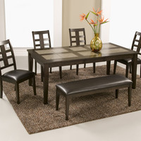 Alpine PIEDMONT TILE TOP DINING TABLE WITH BUTTERFLY LEAF