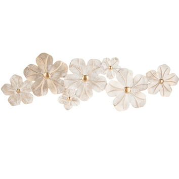 White & Gold Flower Metal Wall Decor | Hobby Lobby | 1641786