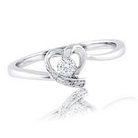 1/10 CT. T.W. Diamond Heart-Shaped Promise Ring in 10K White Gold