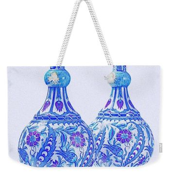 An Ottoman Iznik Style Floral Design Pottery Polychrome, By Adam Asar, No 21c - Weekender Tote Bag