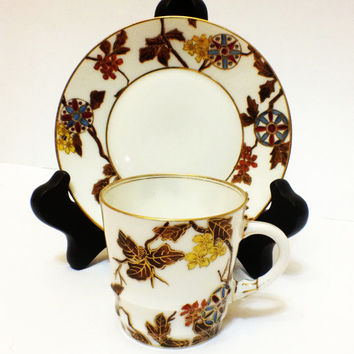ON SALE Antique Demitasse Cup and Saucer, Haviland Limoges,  CFH/Gdm - 1882-1891, Asian Theme Design