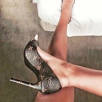 LV Louis Vuitton Women Sexy Pointed Toe Cap High Heels-Heeled Sandals Shoes