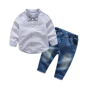 Baby Kids Toddlers Long Sleeve Tops Jeans Denim Pants Clothes Outfit Set Toddle Boys Clothing Wedding Birthday Party