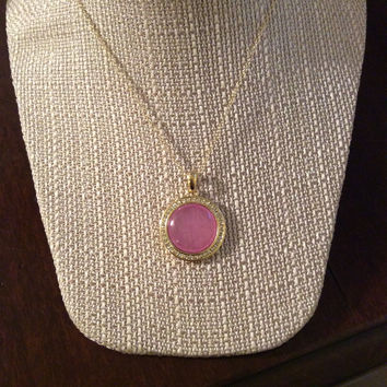 Pink Circle Drop Necklace