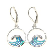 925 Sterling Silver Rhodium Hawaiian Ocean Wave Blue Opal Leverback Earrings