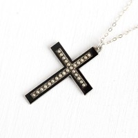 Antique Edwardian Cross - Circa 1910 Sterling Silver Black Enamel Seed Pearl Pendant - Vintage Crucifix Necklace Religious Gothic Jewelry