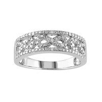 1/10 Carat T.W. Diamond Sterling Silver Infinity Ring (White)