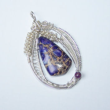 Free Form Wrapped Pendant, Wire Wrapped Pendant, Natural Regalite Wrapped , OOAK Pendant, Stone Setting