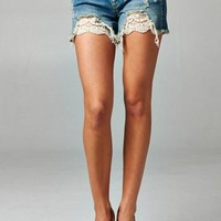 Crochet Lace Denim Shorts