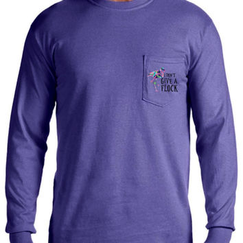 Long Sleeve Comfort Colors Pocket Tee with Lilly Pulitzer Flamingo, I Don't Give a Flock