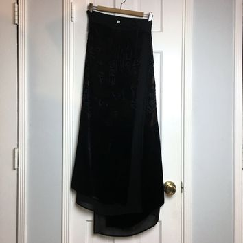 Women's black devoré velvet kimono wrap skirt one size