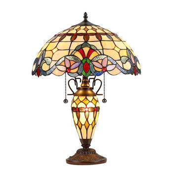 "Cooper, Tiffany-Style 3 Light Victorian Double Lit Table Lamp 16"" Shade"