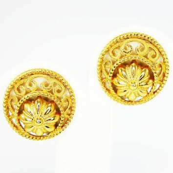 Classic Round Gold Tone Earrings, Signed Trifari, Clip Ons Style, Art Nouveau Style, Mid Century Vintage 1950s 1960s w/  Flowerette & Swirls
