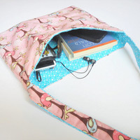 Birds andStars Reversible Flannel Tote in Pink and Turquoise, ready to ship.