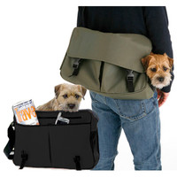 Messenger Bag Dog Carrier Black Brown Green | Designer Pet Carriers at Glamourmutt.com