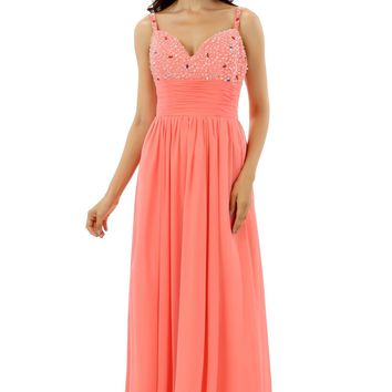 Coral Robe De Soiree 2018 A-line Spaghetti Straps Chiffon Beaded Crysals Women Long Prom Dresses Prom Gown Evening Dress