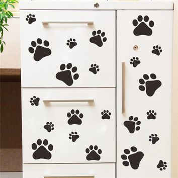 cute funny Dog Cat Paw Print kids room home decal Wall Stickers DIY cabinet door Decor Food Dish Kitchen House Bowl Car Sticker