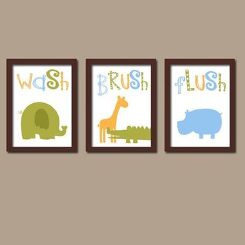 Jungle Animal BATHROOM,Jungle Canvas or Prints,Kid Child Zoo BATHROOM,Safari Animals,Wash Brush,Elephant Giraffe Alligator Hippo Set of 3
