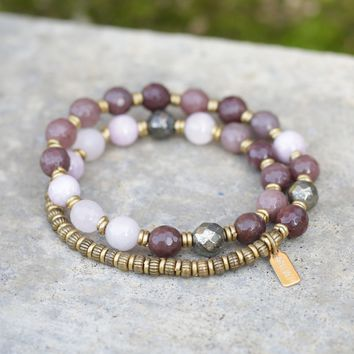 Purple Aventurine, Kunzite and Pyrite Mala Bracelet