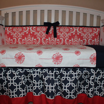 Coral Dandelion and Damask w/ Navy Blue Chainlink 6 Piece Crib Set