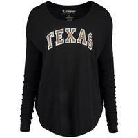 Women's Black Texas Longhorns Relaxed Ribbed Long Sleeve T-Shirt