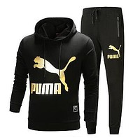 PUMA Hooded Top Sweater Pullover Hoodie Pants Trousers Set Two-Piece Sportswear