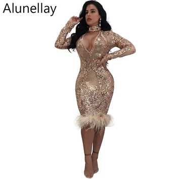 Alunellay Autumn Winter Sexy Party Dress 2018 V Neck Sequined Long Sleeve Club Bodycon Sparkly Elasticity Red Women Dresses