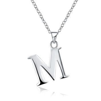 Initial Pendant Necklace 26 Letters Alphabet Personalized Charm Necklace Pendant
