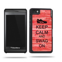 Keep Calm And Swag On Red Wood Blackberry Z10 Case - For Blackberry Z10