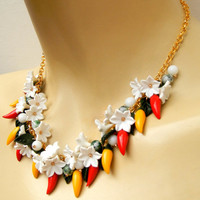 Red chili pepper - Pepper jewelry - Flower necklace - Charm jewelry