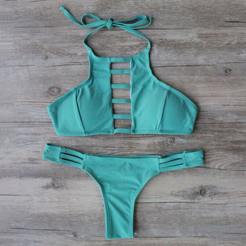 Mint Green High-Neck Bikini