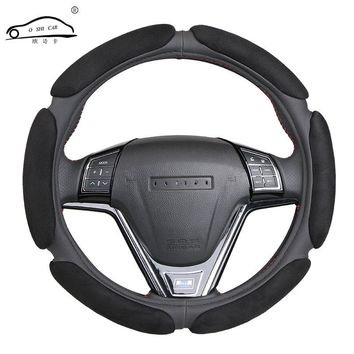 Non-slip Steering-Wheel Cover with 3D Design/Flocking clothcar steering wheel braid diameter 38CM For 95% Car
