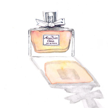 Miss Dior Cherie Painting Watercolor Perfume Bottle - Giclee Print of Watercolor 6 x 9 - Pretty bow Eau de Parfum