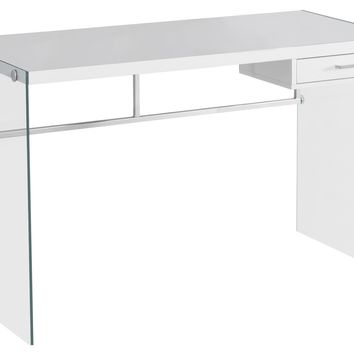 "Computer Desk - 48""L / Glossy White / Tempered Glass"