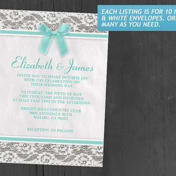 Aqua Country Lace Wedding Invitations | Invites | Invitation Cards