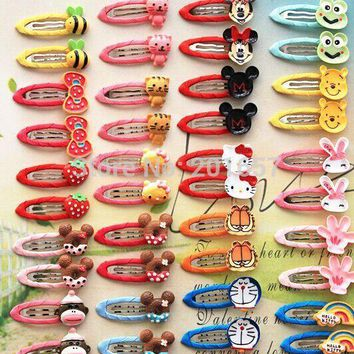 New cartoon fruit animal design kids cute fabric wrapped hairclips hair accessory character hairpins for children