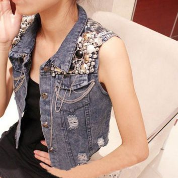Womens Stylish Fine Chains Sleeveless Beadings Denim Blue Outerwear Jean Jacket