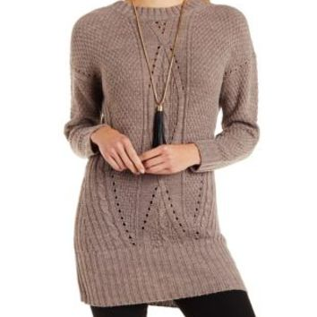 Brown Open Back Cable Knit Tunic Sweater by Charlotte Russe