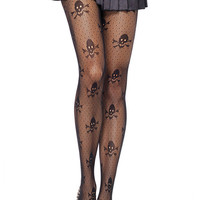 Skull And Polka Dot Patterned Tights