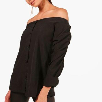 Ruched Sleeve Bardot Shirt | Boohoo
