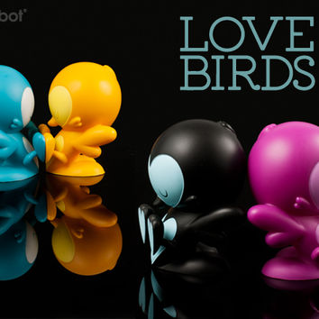 Product Preview - Lovebirds Teal, Black, Purple & Orange Editions