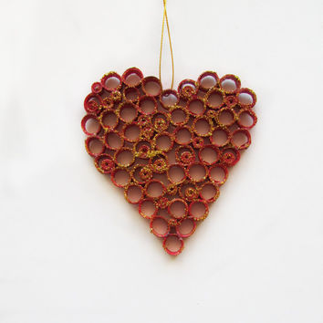 Love Heart Quilling Decoration, Quilling Love Heart Ornament, Quilled Heart, Valentin's Day Quilling