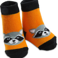Orange Raccoon Baby Boy Socks