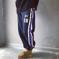 """Puma"" Men Vintage Multicolor Logo Webbing Numeral Embroidery Thickened Sweatpants Leisure Pants Trousers"